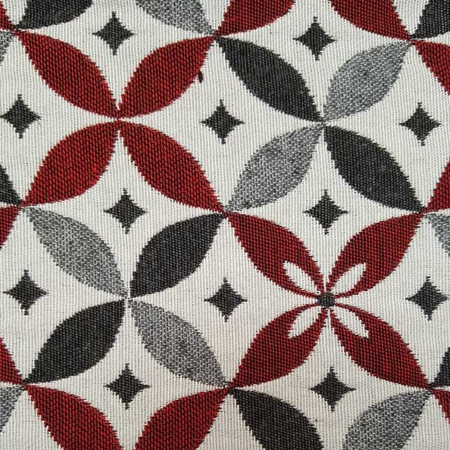 Wide geometric fabric red
